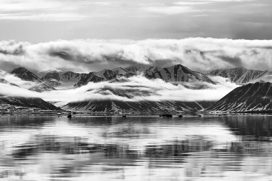 Heavy clouds in Liefdefjord, Spitsbergen